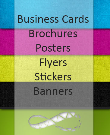 A banner of printing solutions offered by Web 4 Infinity in Liverpool.