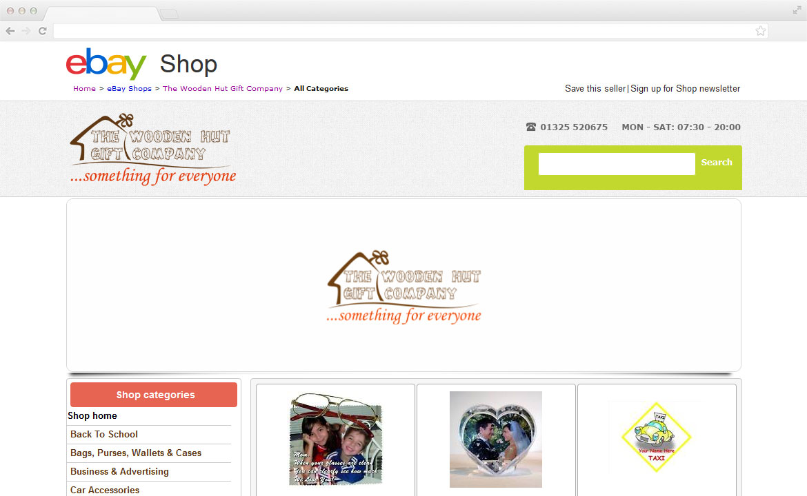 Sample of an ebay store design built by Web 4 Infinity, Liverpool