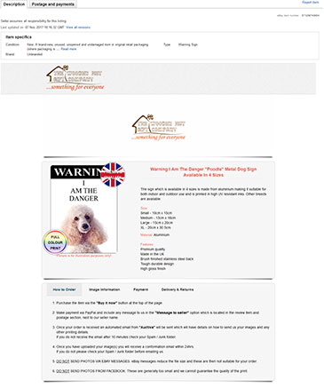 Sample of an ebay listing design built by Web 4 Infinity, Liverpool