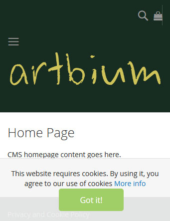 Magento 2 Cookie Consent screenshot front end responsive